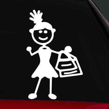 Vásárlós anya családi autó matrica