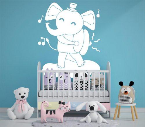 babaszoba falmatrica zenélő elefánt 5