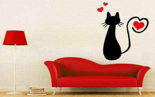 Állatos szíves cicás falmatrica 2