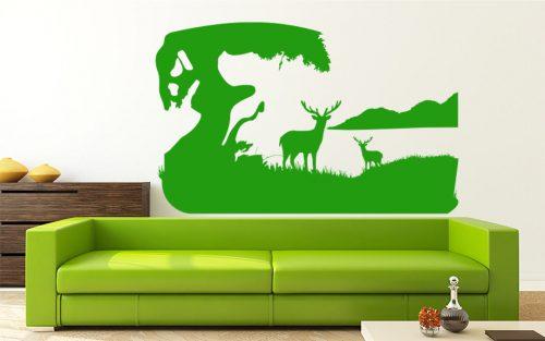 fa és szarvasok hegy falmatrica 4