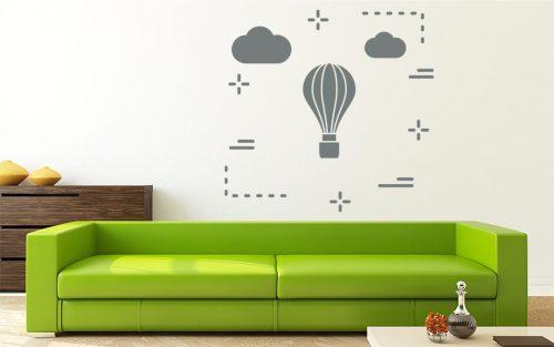 felhős hőlégballonos falmatrica 1