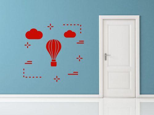felhős hőlégballonos falmatrica 5