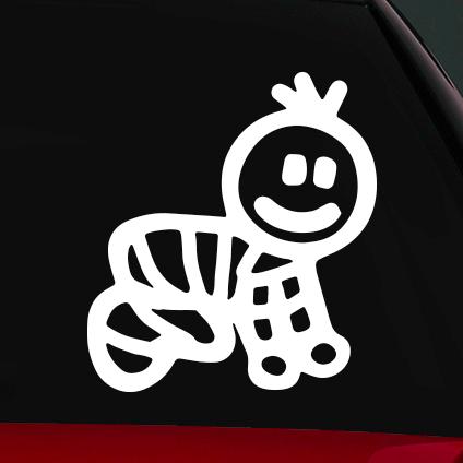 Fiú baba családi autó matrica