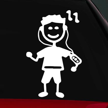 Futó fiú családi autó matrica