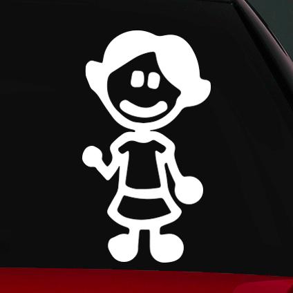 Kislány családi autó matrica
