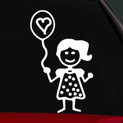Lufis kislány családi autó matrica