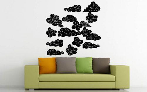 sokrészes felhő falmatrica szett 2