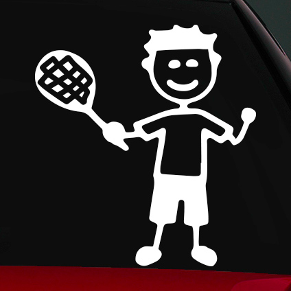 Tenisz fiú családi autó matrica