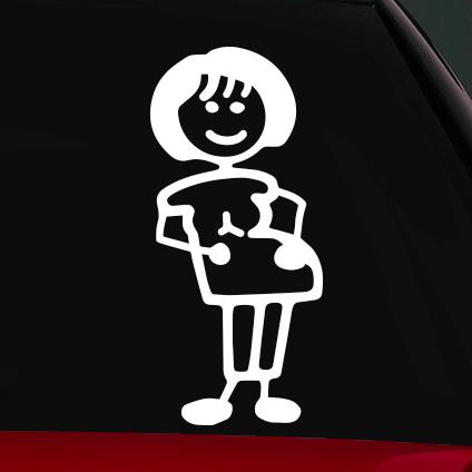 Terhes anya családi autó matrica