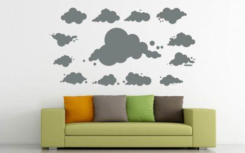 többrészes felhő falmatrica szett 2