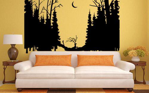 urgó szarvas fenyő erdő falmatrica 4