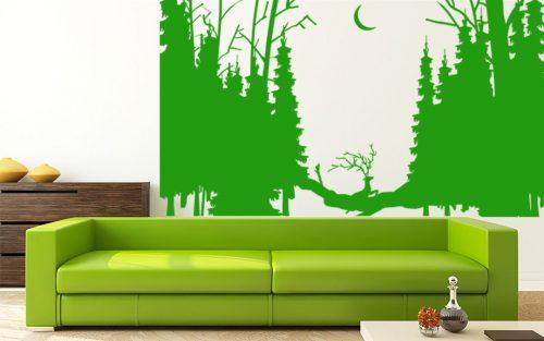 urgó szarvas fenyő erdő falmatrica 5