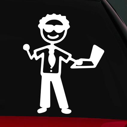 Üzletember apa családi autó matrica