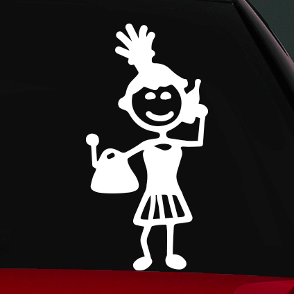 Vásárló női családi autó matrica