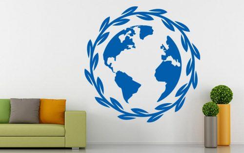 világtérkép falmatrica leveles 3