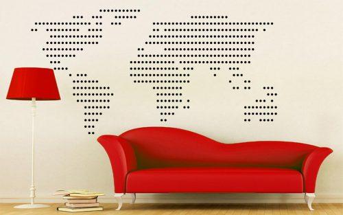 világtérkép falmatrica pottyos 4