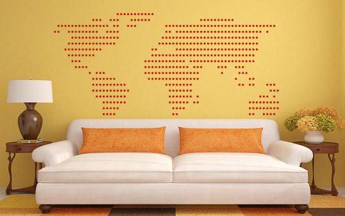 világtérkép falmatrica pottyos 5