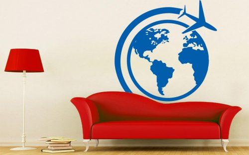 világtérkép falmatrica repülös 4
